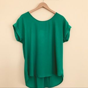 Pleione Green Short Sleeve Pleated Back Blouse